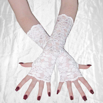 Bells - White lace arm warmers fingerless gloves wrist cuffs sleeves floral flower wedding bridal