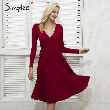 Simplee Vintage ruffle autumn winter dress