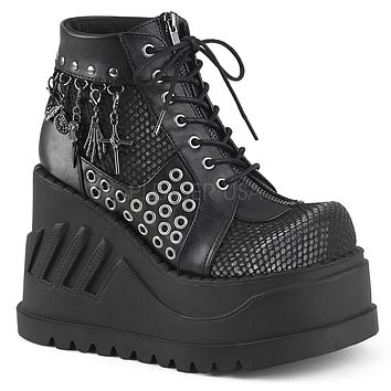 """Stomp 18 Black 4.75"""" Platform Wedge Ankle Boot - Charms"""