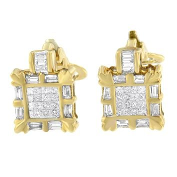 14k Yellow Gold 7/8ct TDW Princess and Baguette Diamond Earrings