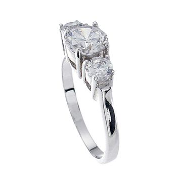 Plutus Brands 925 Sterling Silver Platinum Finish Brilliant Three Stone Engagement Ring 1.5 Carat Weight- Size 6