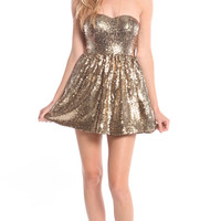 GOLD SEQUIN STRAPLESS SKATER DRESS