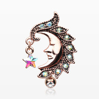 Rose Gold Sparkle Star Crescent Moon Reverse Belly Button Ring