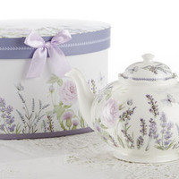 Lavender Porcelain Tea Pot in Gift Box