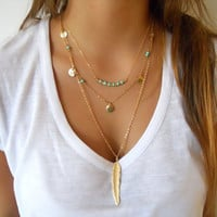 2016 Women's Fashion Jewelry Colar 1PC European Simple Gold Plated Multi Layers Bar Coin Necklace Clavicle Chains Charm