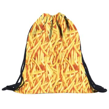 French Fries Pattern Drawstring Bags Cinch String Backpack