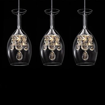 110V LED3 head Wine glasses Glass LED chandelier