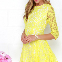 Sunshine Seasons Yellow Lace Skater Dress