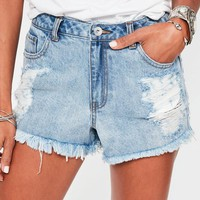 Missguided - Blue Shredded Side Festival Shorts