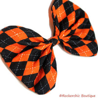 Black and Orange Bow - Argyle, Fall Hair Bow, Halloween - Rounded, Cute, Plaid, Checkered, Fabric, Womens, Teens, Girls, Kawaii
