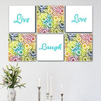 Live Laugh Love Bright Sunflower Wall Art Pack of 6 Canvas Wall Hangings