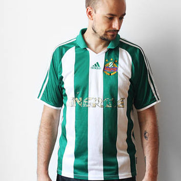 Adidas SK Rapid Wien Austria home shirt / Football soccer jersey t-shirt / Striped t-shirt tee shirt / 2003-2004 M