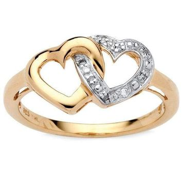 Diamond Accent Interlocking Hearts in 18k Gold over Sterling Silver Ring For Women