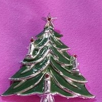 Silver & Enamel Christmas Tree Brooch