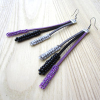 Alcantara and seed glass beads long earrings,long textile fringe earrings,purple