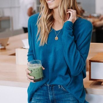 Luxe V-Neck Sweater - Teal