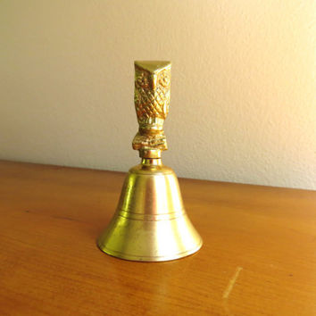 Vintage Brass Owl Bell, Gold Owl Figurine, Owl Collectible, Brass Figurine