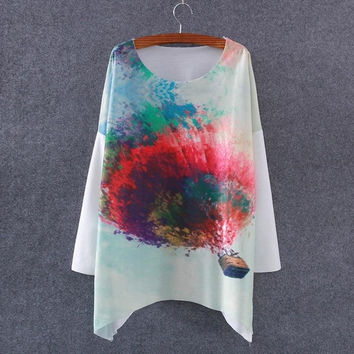 Women Batwing Sleeve Graphic Printed Sweatshirt (Color: White) = 1945870788