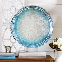 Ombre Aqua Mosaic Platter with Stand