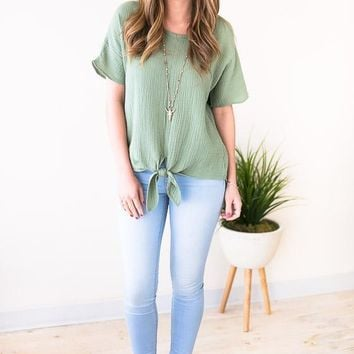 One LuckyTieFront Top - Sage