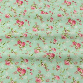 Scrapbooking Bedding Twill Cloth Green Printed Floral Designs Cotton Fabric Tecido Sewing  Home Textile Quilting Patchwork CM