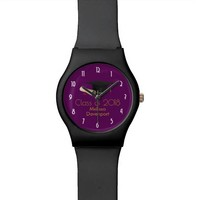 Graduation Cap and Diploma on Purple Class of 20XX Watch