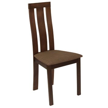 Glenwood Wood Dining Chair with Vertical Wide Slat Back and Fabric Seat