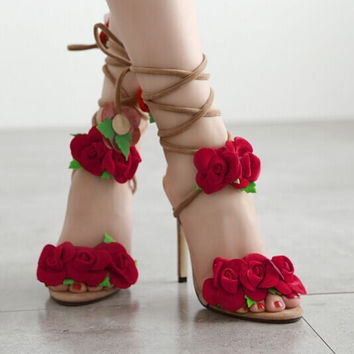 Lovely String Tie Rose Open Toe High Heels