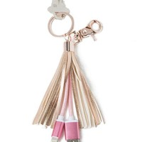 Rose gold USB charger tassel keychain