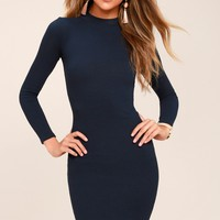Peak My Interest Navy Blue Long Sleeve Bodycon Midi Dress