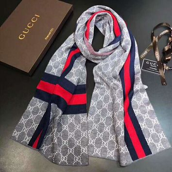 GUCCI Tide brand autumn and winter wild men and women models warm cashmere long scarf Grey