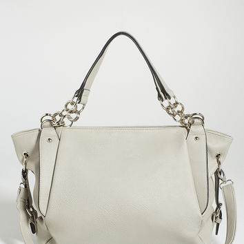 faux leather satchel with side buckles in gray