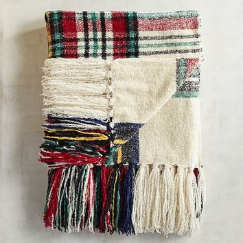 Stewart Plaid Ivory Chenille Throw