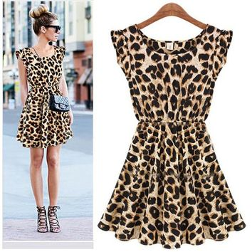 ZLYC Sleeveless Ladies Sexy Leopard Print Skater Chiffon Dress for Women