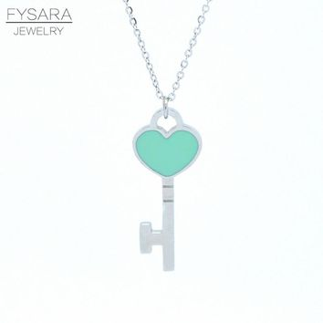 """Love Jewelry Brand Short Necklace""""FOREVER LOVE"""" Stamp Chains Necklace Choker Enamel Double Heart Key Pendant Necklace For Women"""