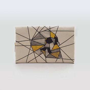 Skull Foldover Clutch, Geometric Print Fabric Clutch Bag, Skull Handbag Gift For Her