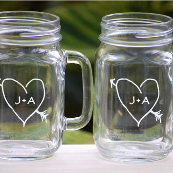Toasting Glasses  Etched Mason Jar Glasses  by UrbanFarmhouseTampa