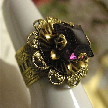 Filigree Cocktail Ring with Amethyst Glass by FernStreetDesigns