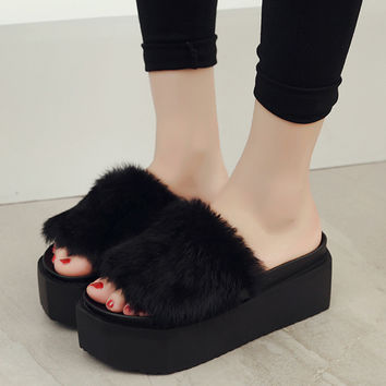 Shoes Woman Sandals High Heel Elegant Furry Slippers Women Platform Open Toe Booties Sapato Feminino Plataforma Cunha