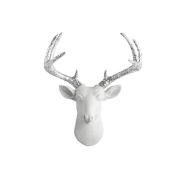 The Mini Virginia | Deer Head | Faux Taxidermy | White  + Silver Glitter Antlers Resin
