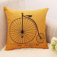 """18""""Quality linen vintage bicycle patterned yellow pillowcase ,couch cushion cover, room decorative pillow,sofa throw pillows"""