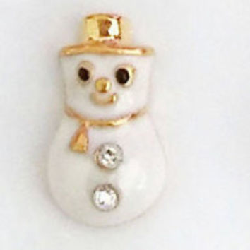 2pc 3D Nail Art  Gold Trim Christmas Snowman Snow Men Snowmen  Nail Gems Nail Rhinestones Christmas Art Pair Them With Our Great Nail Decals