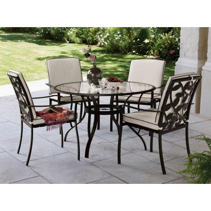 Lucca 4 Seater Round Garden Furniture Set From