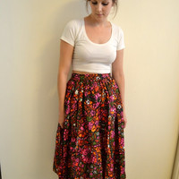 60s Full Midi Skirt with Amazing Stained Glass Psychedelic Floral Print High Waist