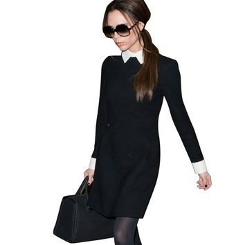 [C-377] Fashion Star Style Victoria Beckham Dress Slim Elegant Turn-down Collar Long Sleeve Black Dresses for Women