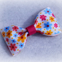 Flower Hair Bow ~ Pink Flower Bow ~ Small Flower Bow ~ Flower Hair Clip ~ Flower Tuxedo Bows ~ Baby Toddler Bow ~ Flower Bow Tie Bow