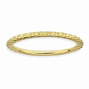 Sterling Silver Stackable Expressions Gold-plated Criss-cross Ring