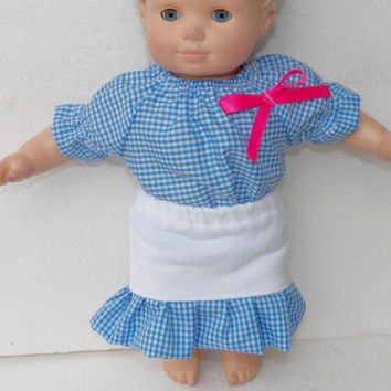 "Blue Gingham Blouse & White Skirt HANDMADE Clothes for Bitty Baby 15"" Girl Doll"