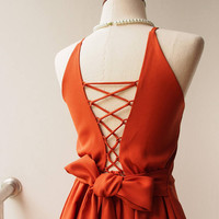 2017 Brick Color Dress Orange-Brown Dress Low Back Boho Dress Cross Rope Dress Short Or Long Dress Prom Dress Swing Fit and Flare Dress