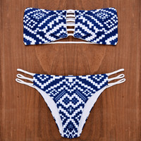 Retro Reversible Bikini Set Beach Swimsuit Summer Gift 178
